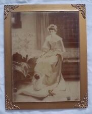 Large Photograph on Glass, Framed, Mother and Baby, Antique