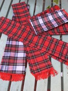 FANCY DRESS TARTAN SCARVES WITH FRINGING, BAY CITY ROLLERS/SCOTLAND
