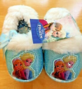 NWT Disney Frozen Anna & Elsa Slippers Toddler Girls Small, 5-6 Blue White Fur