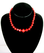 """RED GLASS BICONE BEADS Vintage NECKLACE Choker Graduated Size Japan 16"""""""