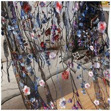 1 Yard Vintage Floral Embroidery Mesh Wedding Dress Lace Fabric 53 Inch Wid G1i8