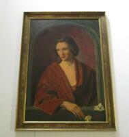 DENNIS RAMSAY PAINTING ORIGINAL PORTRAIT PRETTY FEMALE WOMAN MODEL LONDON 1950'S