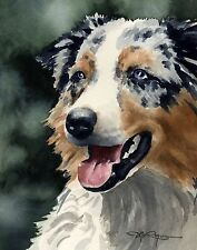 Australian Shepherd Dog 8 x 10 Art Print Signed by Artist Djr