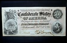 1864 $500 Confederate Note ✪ Au About Uncirculated ✪ States America ◢Trusted◣
