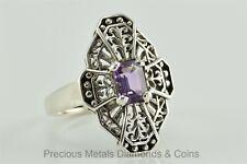 KABANA Estate Sterling Silver Filigree Ring w/.50tcw Emerald Amethyst 4.7g Sz: 8