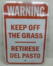 "New listing New Brady, Aluminum Warning Sign,Keep Off Grass, English/Spanish, 18"" x 12"""