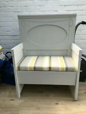 Shabby chic / upcycled wooden painted headboard bench / settle + cushion, grey