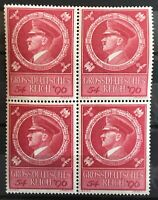 GERMANY 1944 BLOCK OF 4 HITLERS BIRTHDAY # 887 MNH