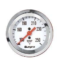 "Sunpro 2"" Mechanical Water / Oil Temperature Gauge White, Chrome Bezel CP8207"