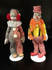 "Antique Pair of K & K TOY COMPANY Bisque Clown Dolls Thuringia Germany 9"" (RARE)"