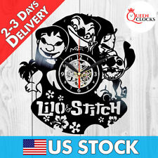 Disney Lilo and Stitch Vinyl Record Wall Clock Birthday Gifts Kids Room Decor
