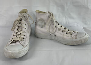 CONVERSE CT 2 ALL STAR Men's (8)M White Embossed Leather High Top Lace Sneakers