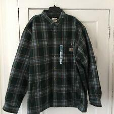 Carhartt Men's Jacket Shirt Plus Size 4XL Gray Sherpa Lined Snaps Green Plaid