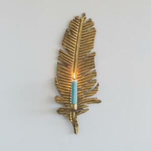 Golden Feather Wall Sconce Candle Holder, Wall Mounted Candlestick, Lighting