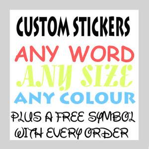 Personalised  Name Word Letter Vinyl Custom Sticker Car Wall art FREE symbol