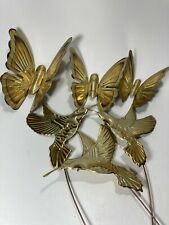 Lot HOMCO Home Interior 3 Brass Hummingbirds On Stakes 3 Round Wing Butterflies