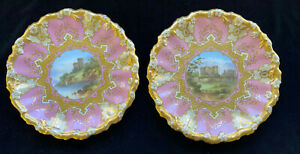 Pair of TIFFANY & CO Plates Made by Coalport of Benson & Kenilworth Castles