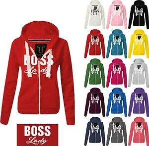 Women Ladies BOSS LADY Zipped hoodie Sweatshirt Top Jumper Jacket Hoody