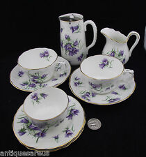 HAMMERSLEY TEA SET CREAM SUGAR 2 TEA CUPS AND SAUCERS PLATES AND HOT WATER