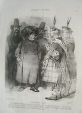 LITHOGRAPHIE DE VERNIER 19è CROQUANTS POLITIQUES LES ECOSSAIS A PARIS