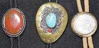 (3) Bolo Tie Lot - Southwest Copper w/ Turquois & Coral - Vintage