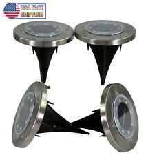 4 Solar Powered 8 Led Disc Path Lawn Lights W/ Diffusure Lens Waterproof Disk