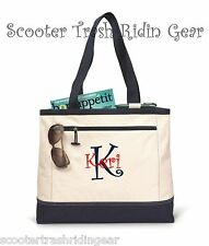 Personalized Tote bag book monogram NAVY NEW diaper anchor nurse teacher