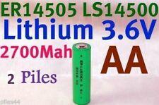 2 Piles Lithium 3.6V AA ER14505 LS14500 ER14505H Li-socl2 2700Mah Battery 14500
