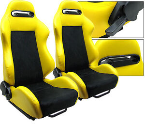 2 X YELLOW PVC LEATHER & BLACK SUEDE ADJUSTABLE RACING SEATS FOR CHEVROLET **