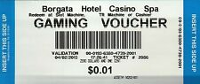 Borgata Hotel Casino Gaming Voucher Atlantic City, Money Ticket --- NOT Postcard