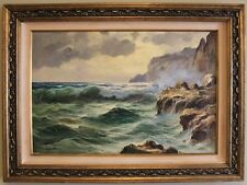 LARGE MEDITERRANEAN SEASCAPE OIL PAINTING BY ARTIST GUIDO ODIERNA