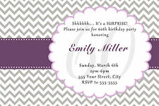 30 Invitation Cards 60th Birthday or Any Age Purple Grey Adult Party Invites A1