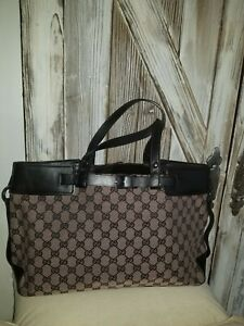 AUTHENTIC GUCCI VINTAGE CANVAS/ LEATHER TOTE GG  BAG  PURSE