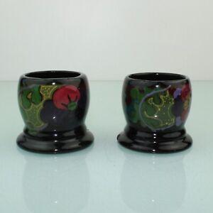 Art Nouveau Dutch earthenware pair of egg holders by Gouda plateel Ivora.
