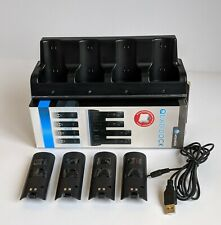 Quad Charging Dock Station for Wii Remote w/ 4 Rechargeable Battery Packs Black