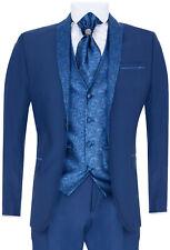Hombre 4 Pieza Boda Traje Novio Vintage Cuello Chal Azul Corbata Ajuste a Medida