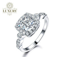 VVS Cubic Zirconia 18K Platinum Plated 925 Sterling Silver Engagement Women Ring