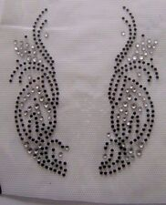 TRIM / CRYSTAL WITH BLACK  RHINESTONE IRON ON APPLIQUE / HOT FIX TRANSFER