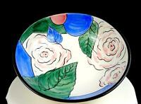 """ITALIAN PORCELAIN ARTIST SIGNED HAND PAINTED ROSES AND LEAVES LARGE 11 3/8"""" BOWL"""