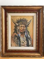 Two Original Oil Paintings Native American Indian Walking Chief Buffalo