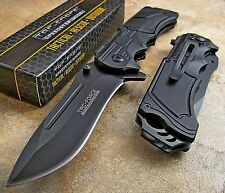 TAC-FORCE Speed Assisted Opening ALL BLACK Aluminum Handles DROP POINT Knife NEW