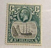 ST HELENA Scott #80 * MH boat, ship, 1d postage stamp, fine + 102 card