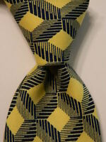 TURNBULL & ASSER Mens 100% Silk Necktie ENGLAND Luxury Geometric Yellow/Blue EUC