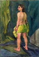 """Russischer Realist Expressionist Öl Leinwand """"Akt"""" 100x70 cm"""