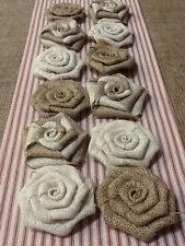 Dozen Burlap Flowers Natural, Ivory and Swirl Rustic Outdoor Wedding Country