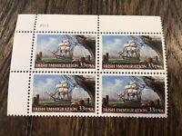 Stamps USA 🇺🇸 Plate Block Scott #3286 33c Irish Immigration [4] MNH F/VF