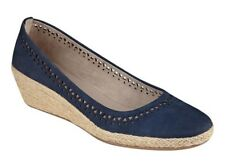 Easy Spirit Derely wedge pumps espadrilles leather navy blue sz 7 WIDE New