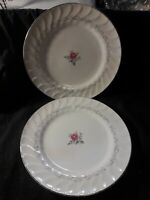 "USED 2 ROYAL SWIRL FINE PORCELAIN CHINA DINNER PLATES 10 1/4""R MADE IN JAPAN"