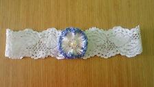 White lace bridal garter  handmade crochet blue flower / wedding / hens party