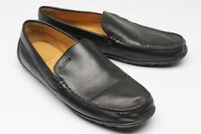Geox Respira Casual Venitian Driving Loafers Moc Toe 40 7.5 Black Leather Shoes